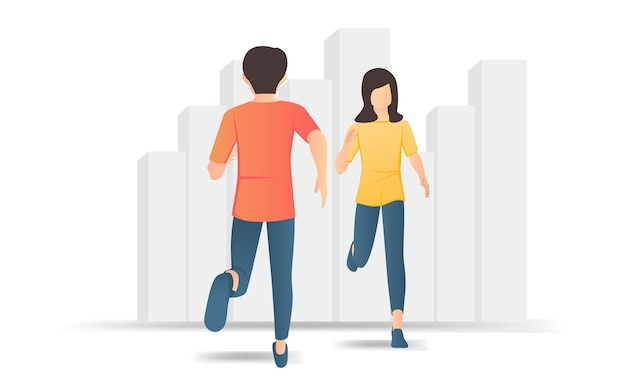 Flat style illustration of a man and woman running