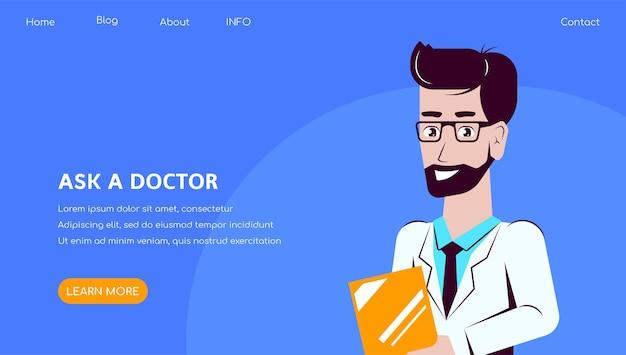 Плоский стиль иллюстрации дизайн баннера персонажей мужского доктора