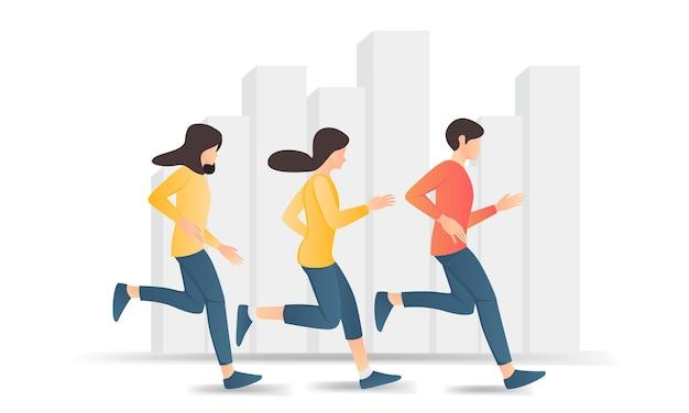 走っている男性と2人の女性のフラットスタイルのイラスト