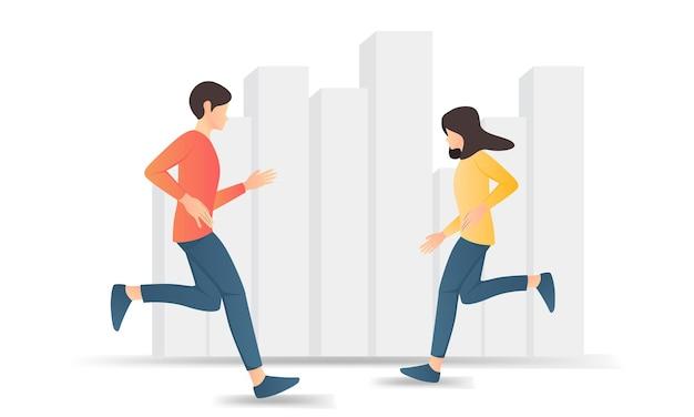 走っている男性と女性のフラットスタイルのイラスト