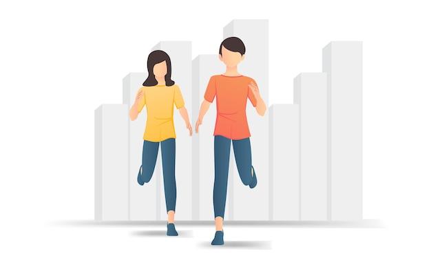 彼の女性と一緒に走っている男性のフラットスタイルのイラスト