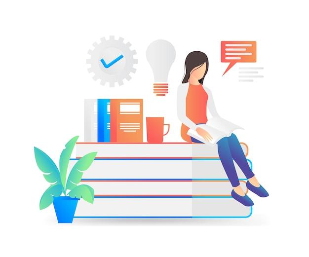 거기에서 아이디어를 찾고 있는 책을 읽고 책 더미에 앉아 있는 여자의 평면 스타일 그림