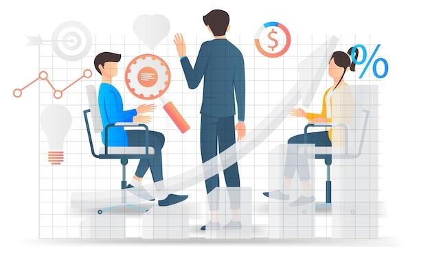 비즈니스 팀 회의 및 비즈니스 개발 논의의 평면 스타일 그림