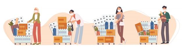 漫画のキャラクターのフラットスタイルのイラストフェイスマスクの人々はパニックショッピングです。食料品や備品が溜まります。病気の発生に苦しむことへの不安。