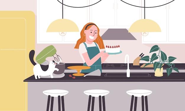 漫画の女性キャラクターのフラットスタイルのイラストは、キッチンでイチゴの白いケーキを焼きます。検疫中の日常生活活動。自宅でできる趣味のアイデアのコンセプト。