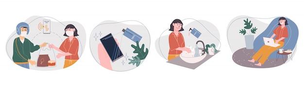 家庭での漫画の女性キャラクターライフスタイルのフラットスタイルのイラスト。食品配達サービス、電話でのアルコールのスプレー、手を洗う、在宅勤務を使用します。隔離中の社会的距離。