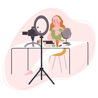 Плоская иллюстрация стиля видео записи персонажа из мультфильма женщины пока положенный дальше составляет. понятие о трансляции видео, урок макияжа, прямой эфир, блогер красоты, vlog.