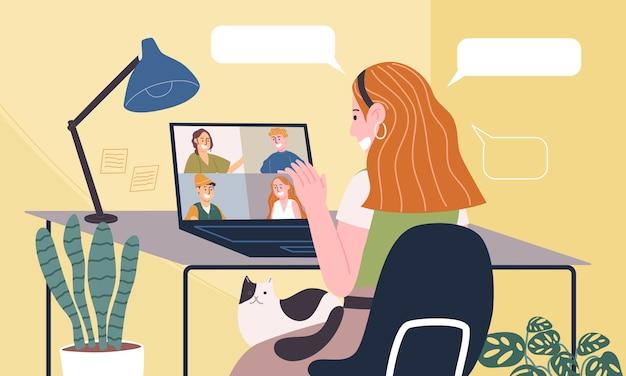 在宅勤務の漫画の女性キャラクターのフラットスタイルのイラスト。オンラインでの作業、自宅での会議の概念。コロナウイルス検疫中の社会的距離。