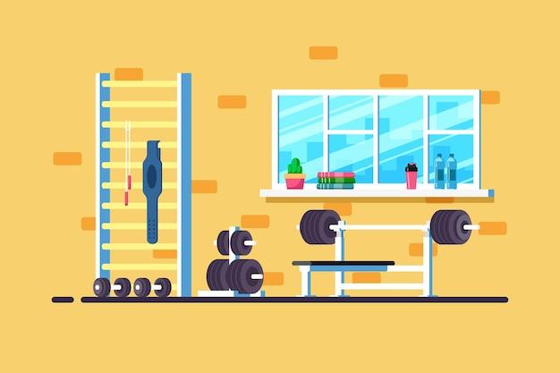 체육관 인테리어의 평면 스타일 그림입니다. 무거운 바벨, 바벨 랙 및 추가 체육관 장비.