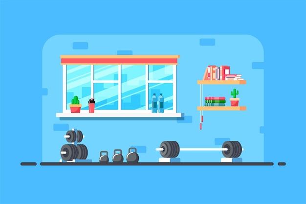 체육관 인테리어의 평면 스타일 그림입니다. 데 드리프트 및 추가 체육관 장비를위한 헤비 바벨.