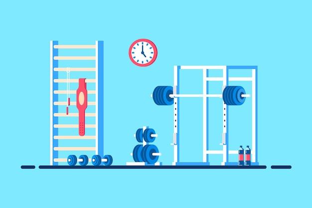체육관 인테리어의 평면 스타일 그림입니다. 헤비 바벨, 스쿼트 랙 및 추가 체육관 장비.