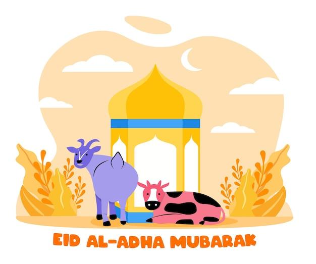 Плоский стиль иллюстрации жертвоприношения животных коровы и козы для ид аль адха приветствие концепции исламского праздника