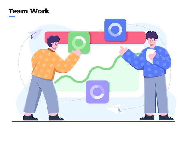 Flat style illustration team work and working with data visualization analytic