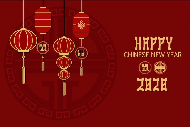 Flat style imlek chinese new year template banner background