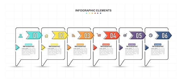 Flat style infographic template with 6 steps