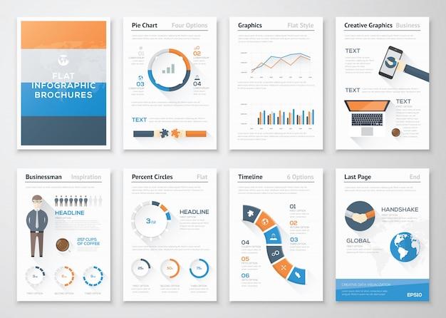 ビジネスパンフレットのフラットスタイルのインフォグラフィックベクターエレメント