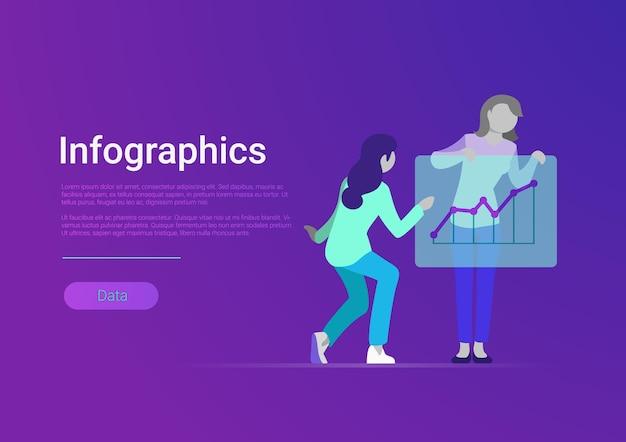 フラットスタイルのインフォグラフィックウェブバナーベクトルテンプレート