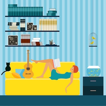 Flat style interior design. interior with couch girl reading and cat.