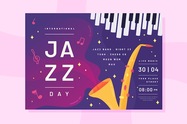 Flat style international jazz day flyer