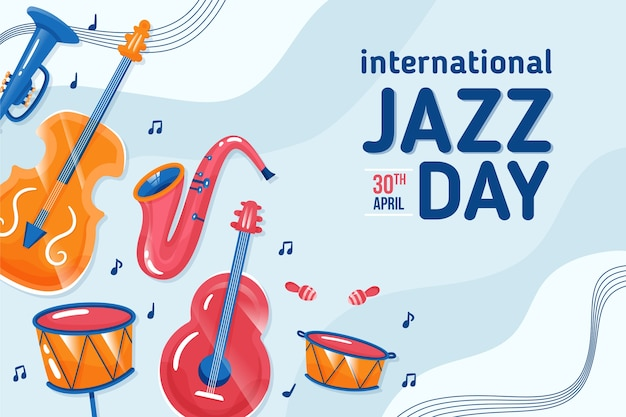 Flat style international jazz day