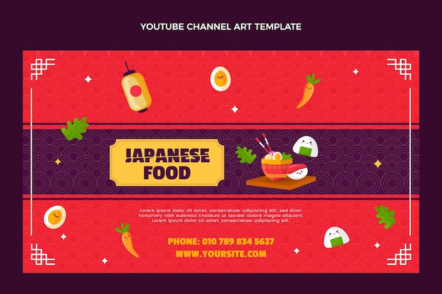 Canale youtube di cibo giapponese in stile piatto
