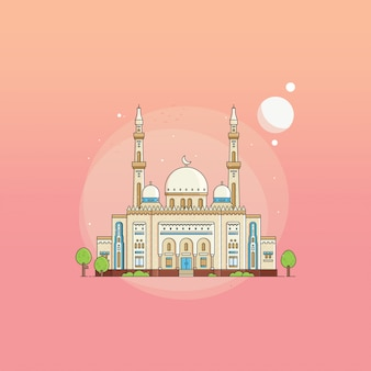 Flat style jumeirah grand mosque uae on gradient background