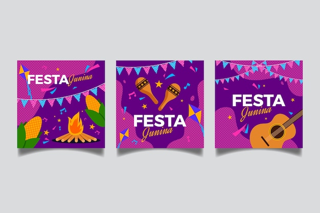 Flat style june festival card collection
