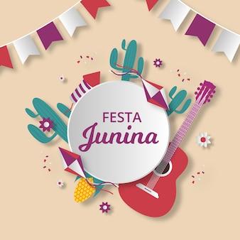 Flat style june festival event