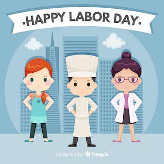 Flat style labor day background with professions