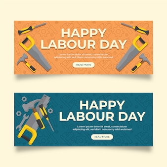 Flat style labour day banners