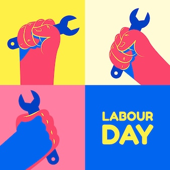 Flat style labour day event