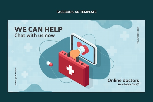 Flat style medical facebook template