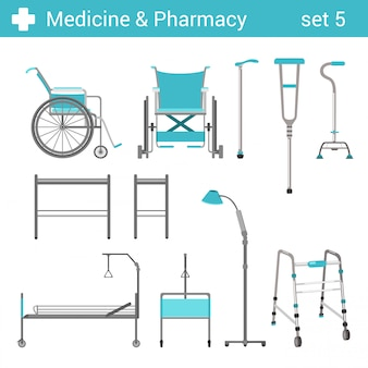 Flat style medical hospital disabled equipment illustrations set.