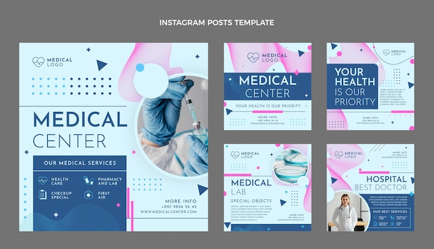 Flat style medical instagram post collection