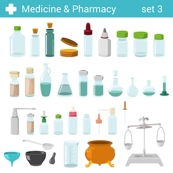Flat style medical pharmaceutical bottles glasses containers scales illustration set.