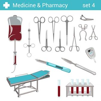 Flat style medical pharmaceutical hospital equipment illustrations set.