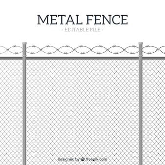 Flat style metal fence with barbed wire