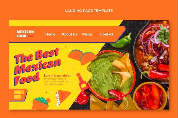 Pagina di destinazione del cibo messicano in stile piatto