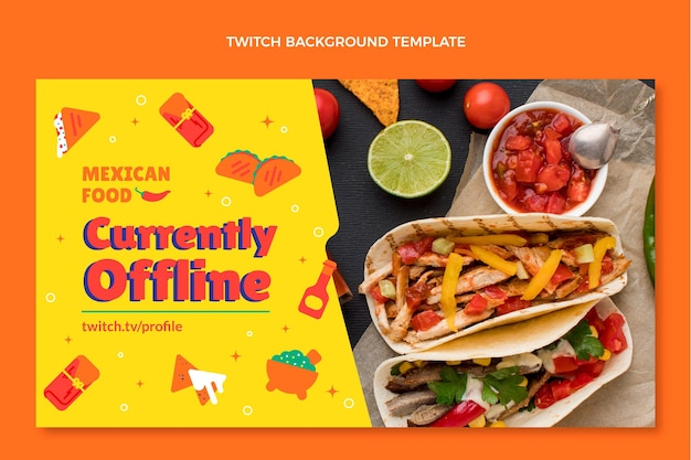 Flat style mexican food twitch background