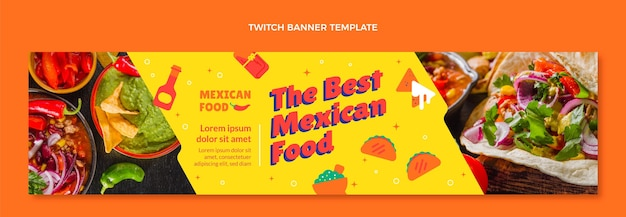 Flat style mexican food twitch banner