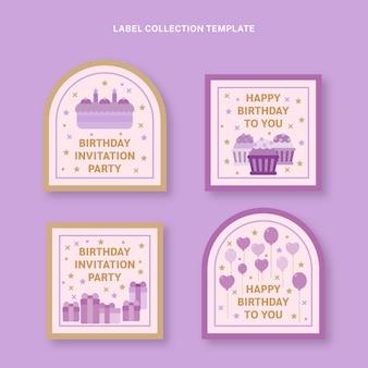 Flat style minimal birthday labels
