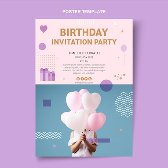 Flat style minimal birthday poster