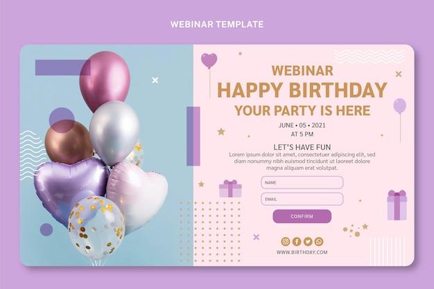 Flat style minimal birthday webinar
