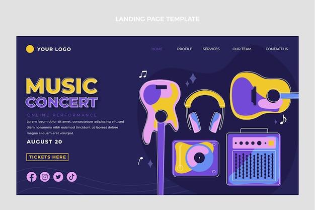 플랫 스타일 최소한의 음악 축제 방문 페이지