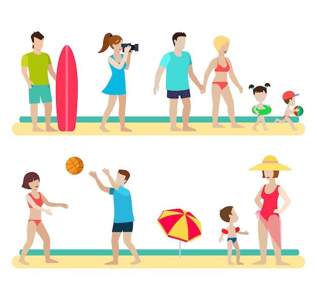 평면 스타일 현대 해변 사람들이 가족 생활 상황을 설정합니다. 사진 작가 서퍼 커플 아이 양육 배구 우산. 남성 여성 라이프 스타일.