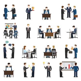 평면 스타일의 현대적인 비즈니스 상황 기업인 사람들이 큰 세트. 회의 성공 보고서 교육 관리자 운영자 채팅 투자 지원 토론 세션 아이디어 직장 리셉션 협상