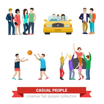 Flat style modern people casual clothes situations      set. young couple in car friends basketball dj party. creative people collection.