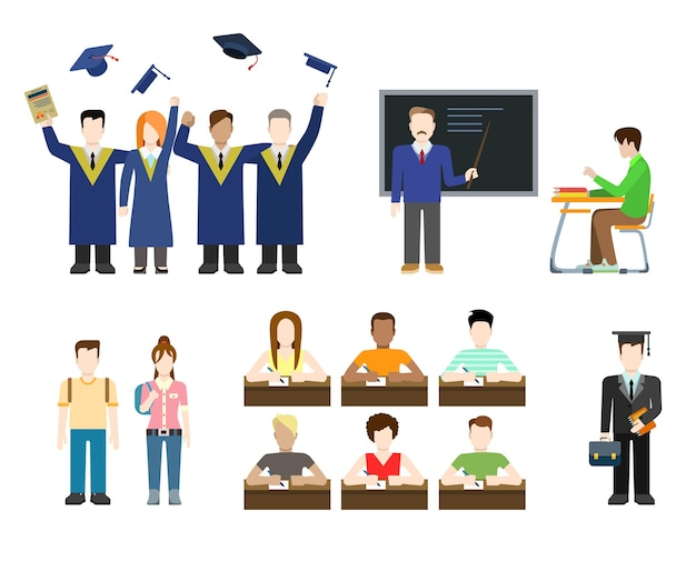 플랫 스타일의 현대인의 교육 지식 학교 대학 대학 상황 설정. 남성 여성 라이프 스타일.