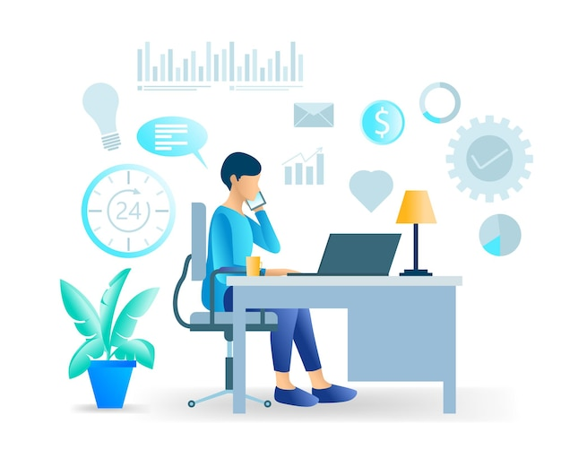 Flat style modern vector illustration about online business development consulting Premium Vector
