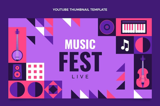 Flat style mosaic music festival youtube thumbnail